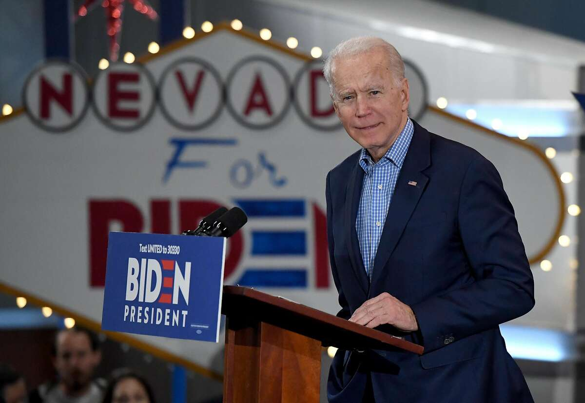 LAS VEGAS, NEVADA - FEBRUARY 22: Democratic presidential candidate former Vice President Joe Biden speaks during a Nevada caucus day event at IBEW Local 357 on February 22, 2020 in Las Vegas, Nevada. Nevada held its first-in-the-West caucuses today following four days of in-person early voting, becoming the third state in the nation to vote in the Democratic presidential nominating process. (Photo by Ethan Miller/Getty Images)