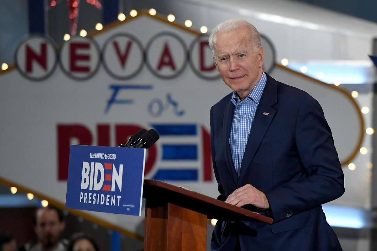 Former Vice President Joe Biden speaks during a Nevada caucus day event at IBEW Local 357 in Las Vegas.