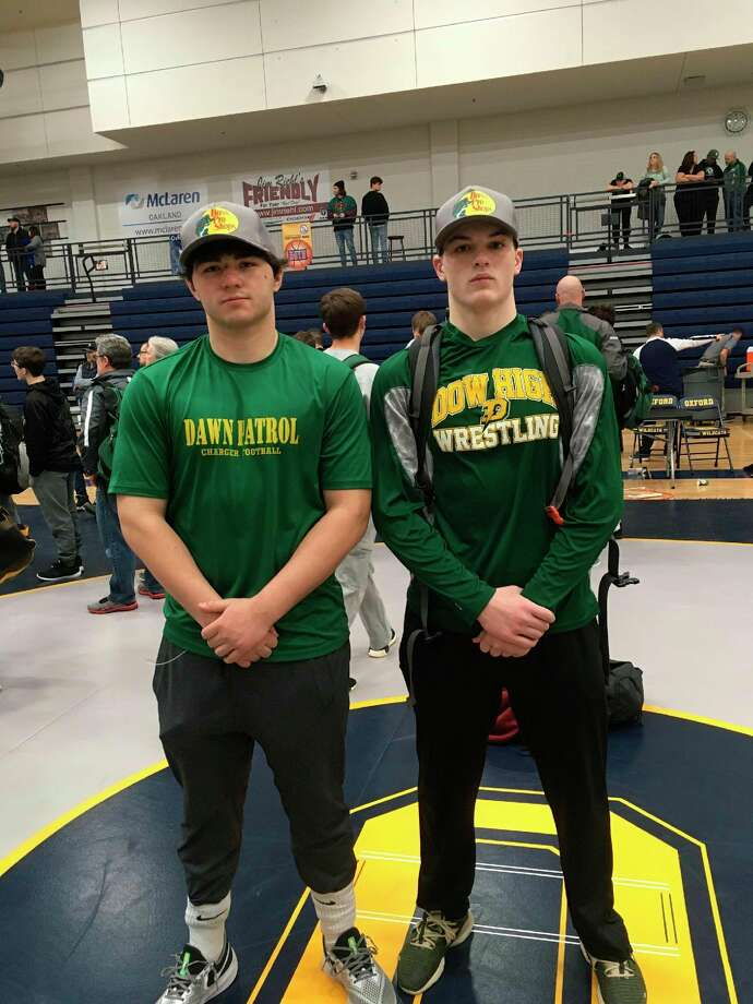 Dow High's wrestling state qualifiers are (from left) Aidan Belgiorno and Aidan Wardell.