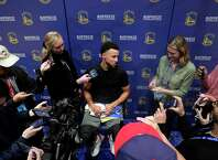 Stephen Curry talks to the press after shoot around during an off-day practice having been cleared to do full contact practices at Chase Center in San Francisco, Calif., on Saturday, February 22, 2020.