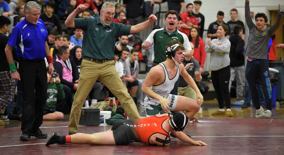 New Milford's Richard Morrell defeats E.O. Smith's Ethan Grous in the 170 pound weight class finals of the CIAC Class L Wrestling tournament on Feb. 22, 2020 at Bristol Central High School in Bristol, Connecticut.