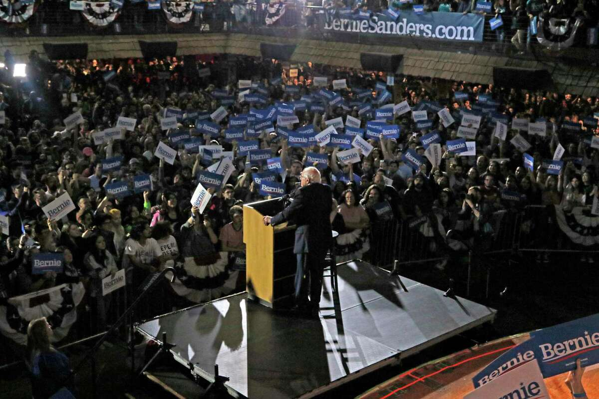 Bernie Sanders speaks to supporters at a campaign rally at the Cowboys Dance Hall on Saturday.