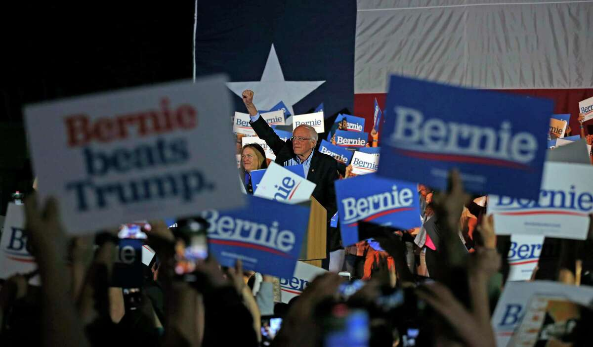 Bernie Sanders greets supporters at a campaign rally at the Cowboys Dance Hall on Saturday, February 22, 2020.