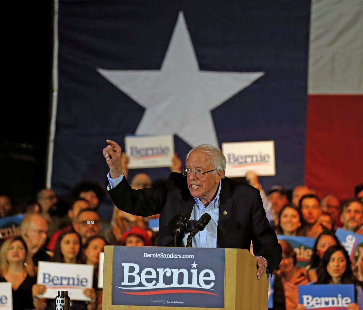 Bernie Sanders speaks to supporters at a campaign rally at the Cowboys Dance Hall on Saturday, February 22, 2020.