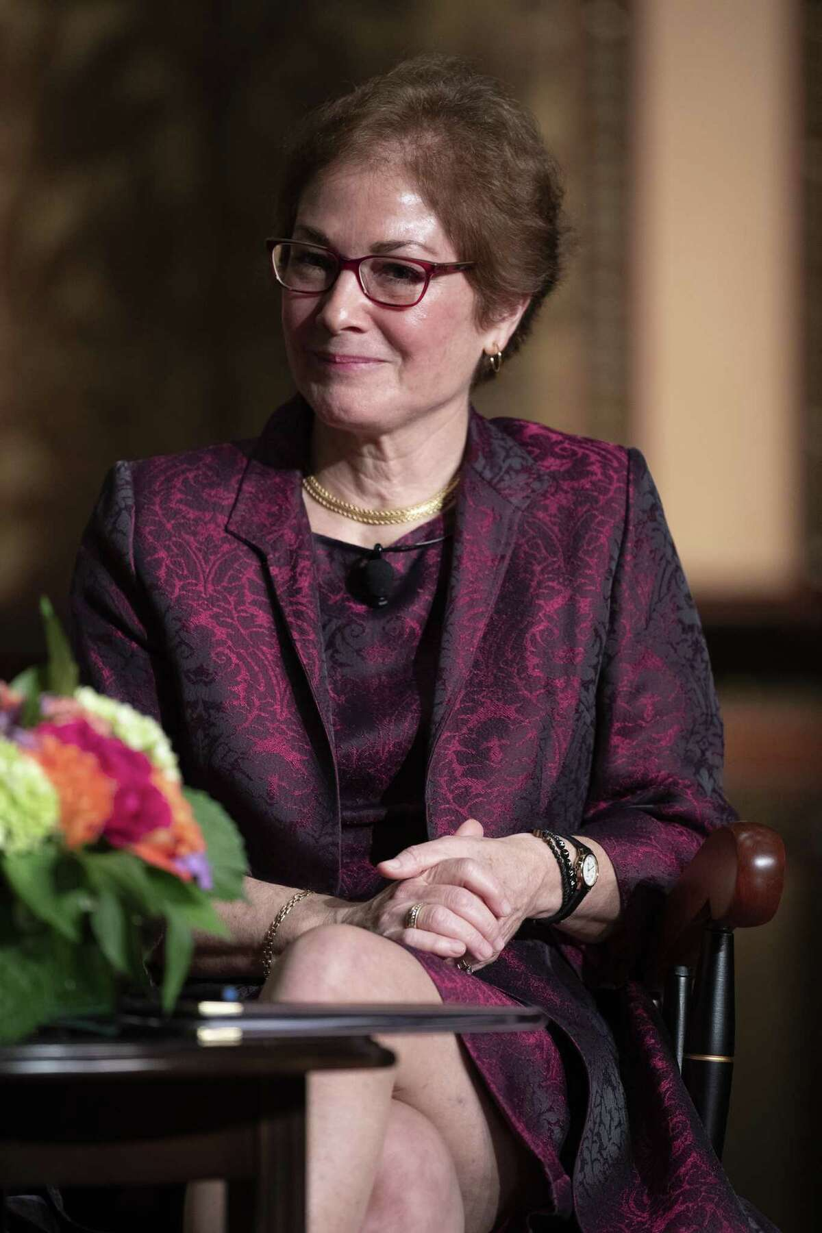 """WASHINGTON, DC - FEBRUARY 12: Former U.S. AmbassadorA Marie Yovanovitch attends a ceremony awarding her theA Trainor Award for """"Excellence in the Conduct of Diplomacy"""" at Georgetown University on February 12, 2020 in Washington, DC. Yovanovitch made her first public appearance since testifying before Congress in the impeachment proceedings to accept the 2020 Trainor Award from the Institute for the Study of Diplomacy, an honor previously presented to former Secretary of State Madeleine Albright, then-U.S. Secretary of Energy Ernest Moniz and then-United Nations Secretary General Kofi Annan. (Photo by Tasos Katopodis/Getty Images)"""