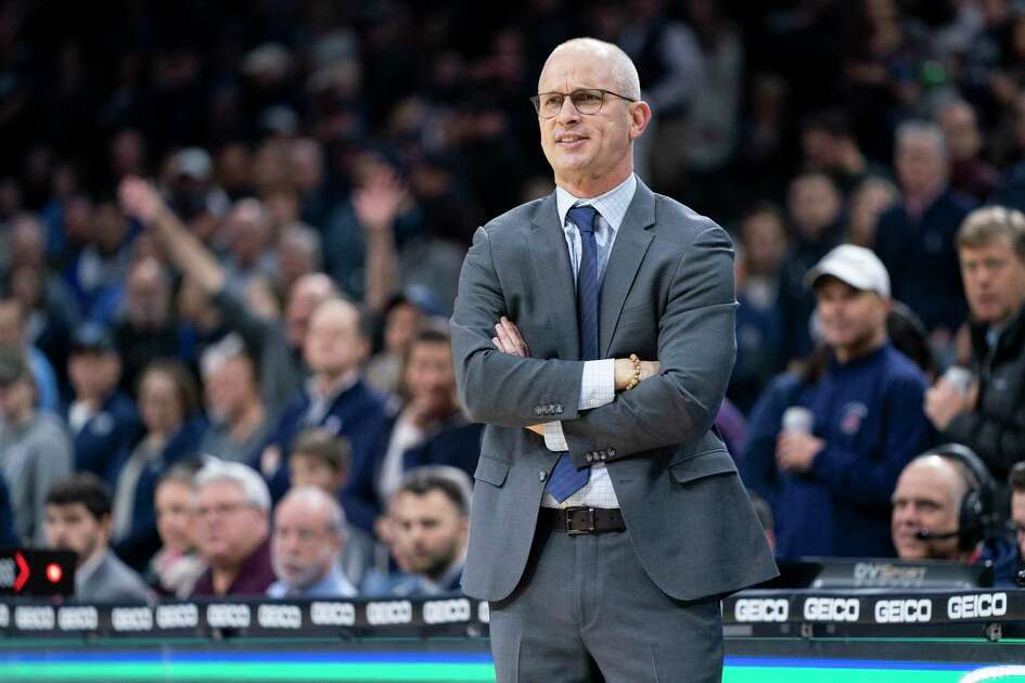 Connecticut's head coach Dan Hurley looks on during the first half of an NCAA college basketball game against Villanova Saturday, Jan. 18, 2020, in Philadelphia. Villanova won 61-55. (AP Photo/Chris Szagola)