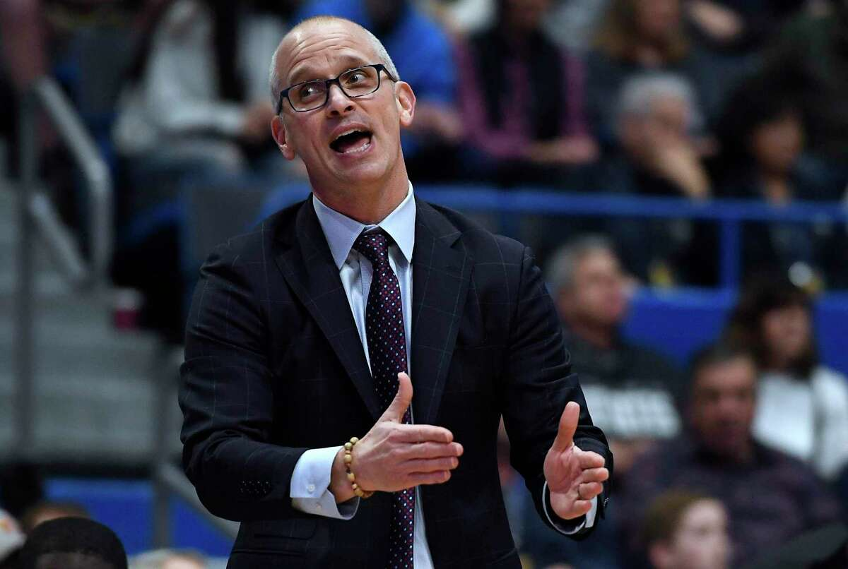 Connecticut head coach Dan Hurley in the first half of an NCAA college basketball game, Sunday, Jan. 12, 2020, in Hartford, Conn. (AP Photo/Jessica Hill)