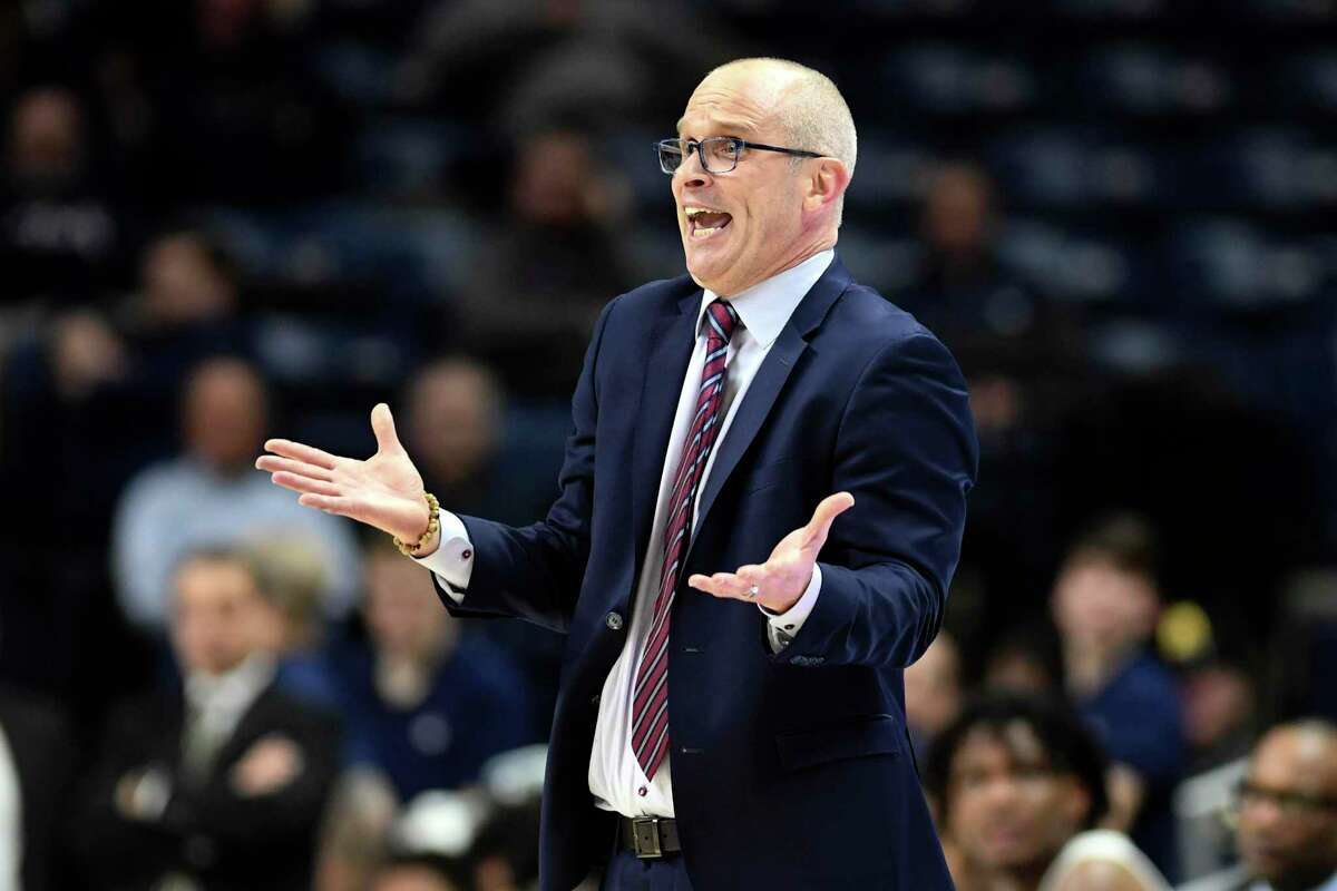 Connecticut head coach Dan Hurley pleads with the refs during the second half of an NCAA college basketball game against Tulane Wednesday, Jan. 8, 2020, in Storrs, Conn. (AP Photo/Stephen Dunn)