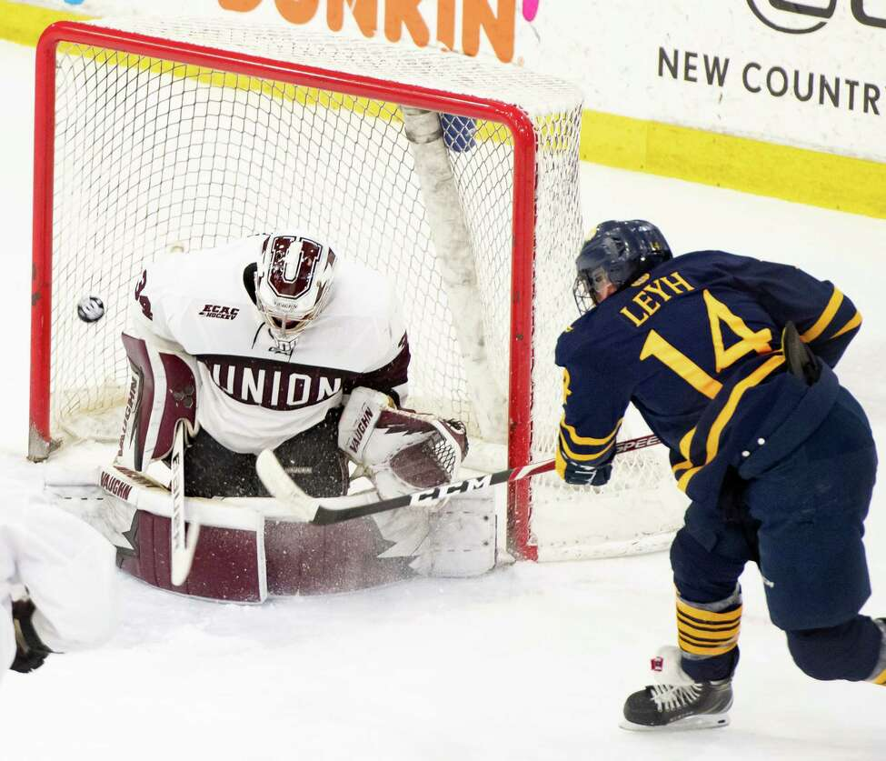 Union goaltender Darion Hanson stops a shot by Quinnipiac forward Ethan Leyh during the Dutchmen's final home game of the regular season Saturday, Feb. 22, 2020 in Schenectady, N.Y. (Jenn March, Special to the Times Union )