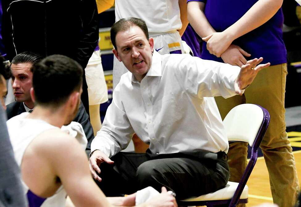 University at Albany head coach Will Brown instructs his players against New Hampshire during the first half of an NCAA basketball game Saturday, Feb. 22, 2020, in Albany, N.Y., (Hans Pennink / Special to the Times Union)