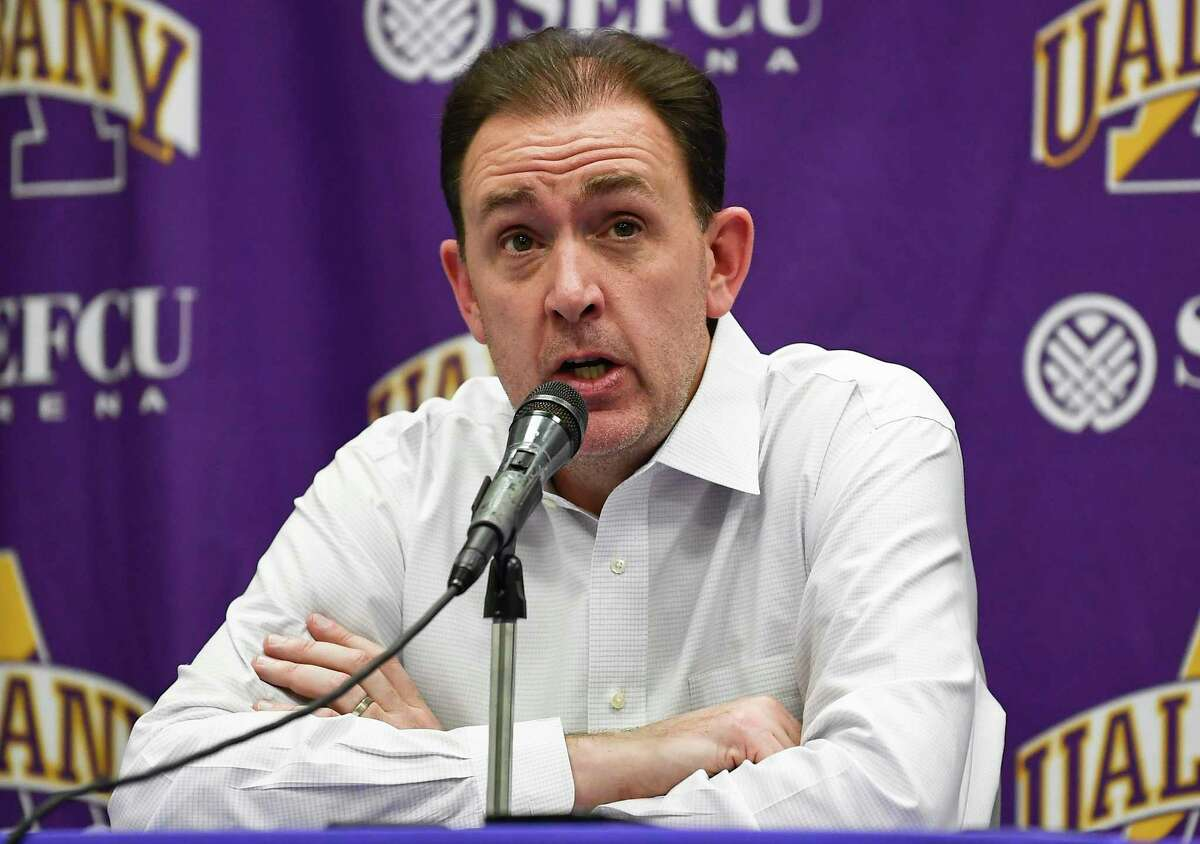 University at Albany head coach Will Brown talks to reporters after a 68-56 loss to New Hampshire following an NCAA basketball game Saturday, Feb. 22, 2020, in Albany, N.Y., (Hans Pennink / Special to the Times Union)