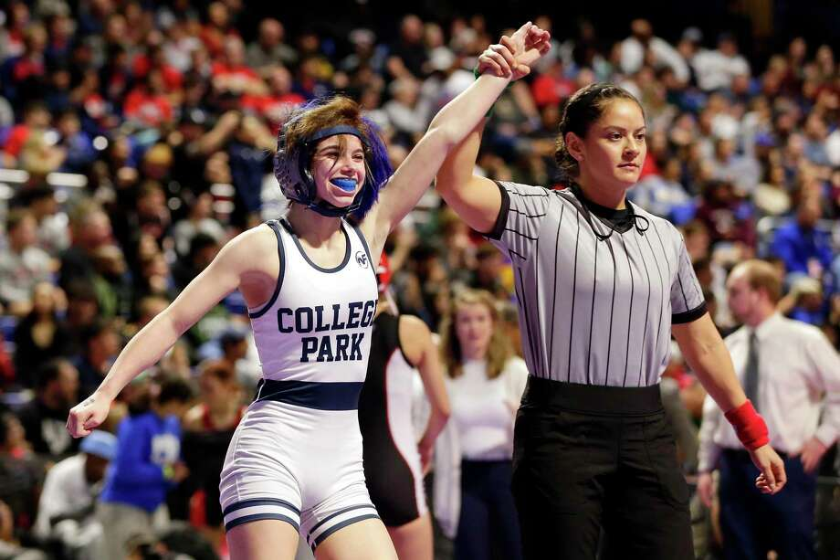 College Park's Olivia Degeorgio won the 95-pound bracket in her second trip to state as the Lady Cavaliers finished third in Class 6A, just 16 points behind Euless Trinity, that state champs. Photo: Michael Wyke / Contributor / © 2020 Houston Chronicle