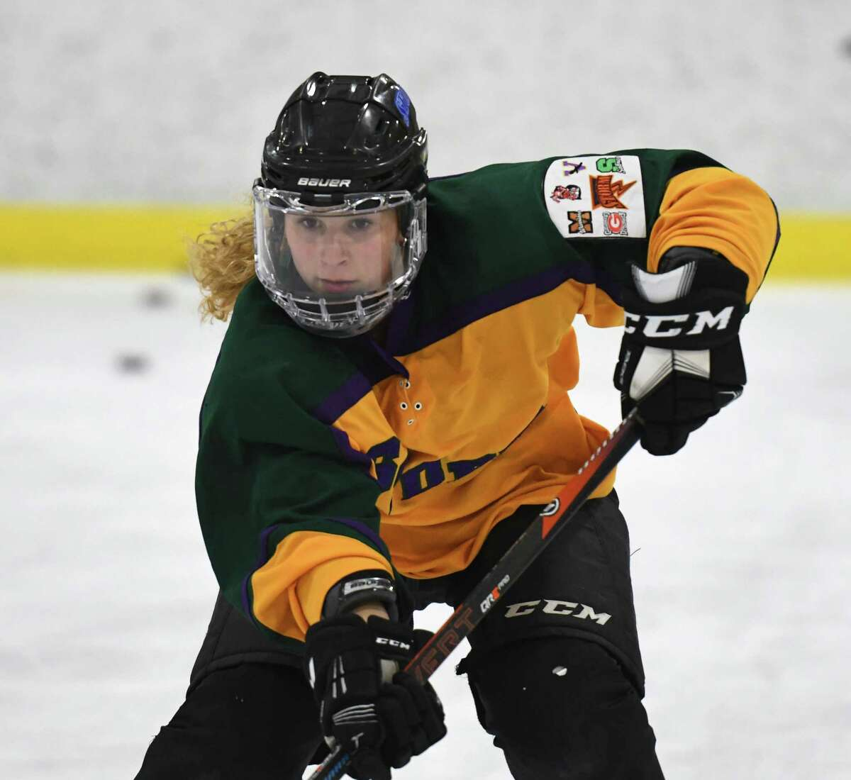 Maddie LeBel works with teammates during ice hockey practice on Friday, Feb. 21, 2020, at the Schenectady Country Rec. Facility in Glenville, N.Y. (Will Waldron/Times Union)