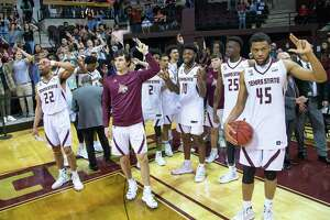 San Marcos, TX; Texas State Bobcats celebrate their win against the Georgia State Panthers with their school song at the NCAA mens basketball game on Saturday, Feb 12, 2020, at the Strahan Arena. [JOHN GUTIERREZ/FOR EXPRESS-NEWS]