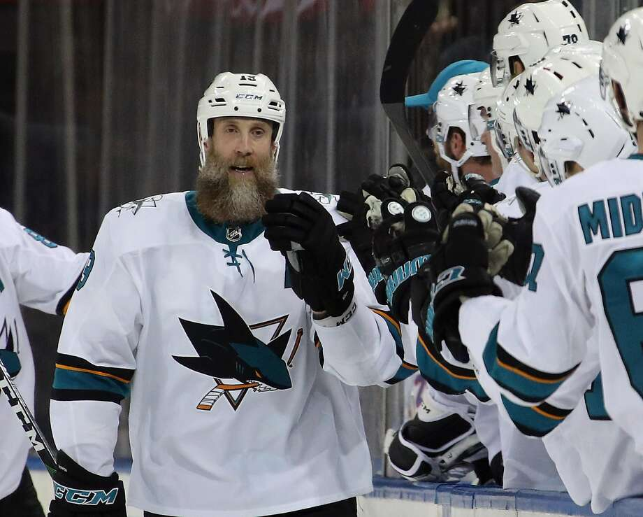 NEW YORK, NEW YORK - FEBRUARY 22: Joe Thornton #19 of the San Jose Sharks celebrates his second goal of the game at 13:47 of the second period against the New York Rangers at Madison Square Garden on February 22, 2020 in New York City. (Photo by Bruce Bennett/Getty Images) Photo: Bruce Bennett / Getty Images
