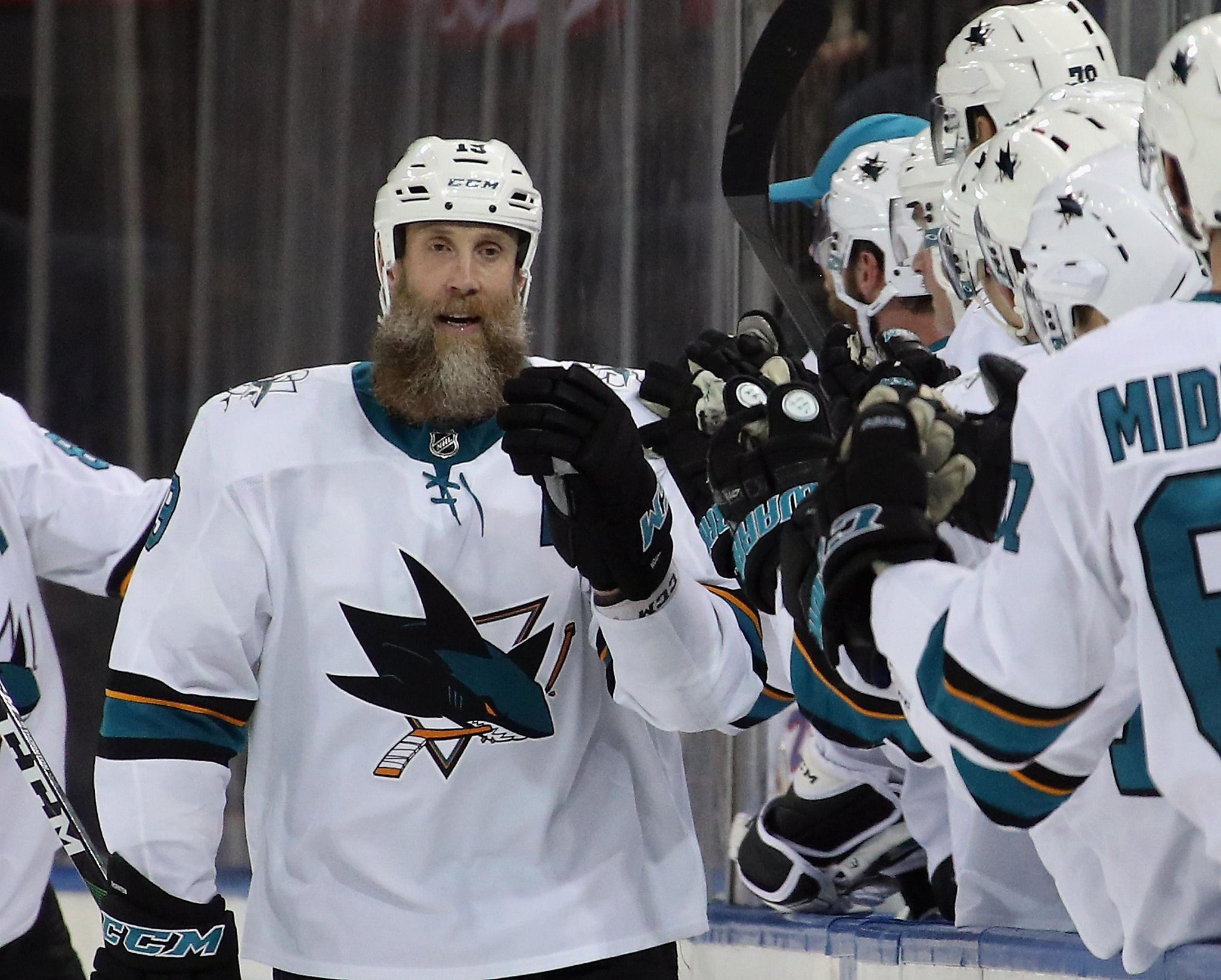 Joe Thornton scores twice but Sharks fall to Rangers