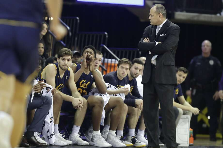 California coach Mark Fox, right, looks toward the bench during the first half of the team's NCAA college basketball game against Washington, Saturday, Feb. 22, 2020, in Seattle. (AP Photo/Ted S. Warren) Photo: Ted S. Warren / Associated Press