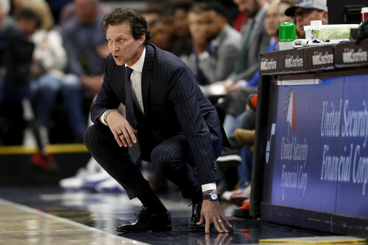 Utah Jazz's head coach Quin Snyder yells to his team in the second half during an NBA basketball game against the Houston Rockets on Saturday, Feb. 22, 2020, in Salt Lake City. The Houston Rockets defeated the Utah Jazz 120-110. (AP Photo/Kim Raff)