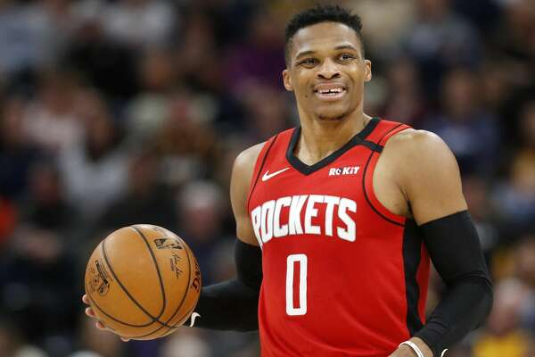 Houston Rockets' Russell Westbrook during an NBA basketball game against the Utah Jazz on Saturday, Feb. 22, 2020, in Salt Lake City. The Houston Rockets defeated the Utah Jazz 120-110. (AP Photo/Kim Raff)