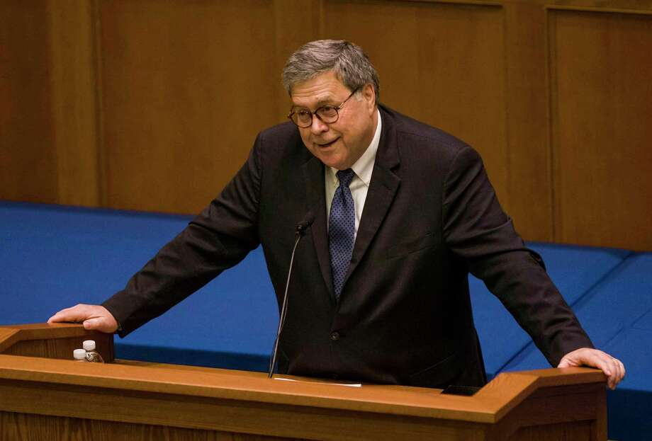 United States Attorney General William P. Barr speaks to Notre Dame Law School students and faculty on Friday, Oct. 11, 2019, inside Notre Dame's Eck Hall of Law in South Bend, Ind. Photo: Robert Franklin / Associated Press / Robert Franklin, South Bend Tribune