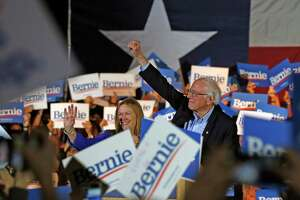 Bernie Sanders with his wife Jane speaks to supporters at a campaign rally at the Cowboys Dance Hall on Saturday, February 22, 2020.