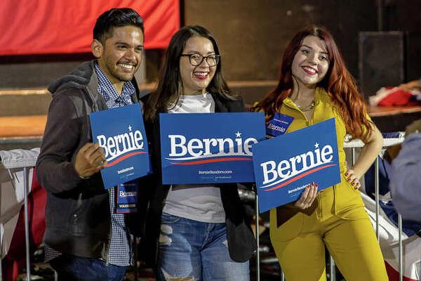 San Antonio Bernie Sanders supporters crowd into Cowboys Dancehall Saturday evening, Feb. 22, 2020, to hear the Democratic presidential candidate speak.