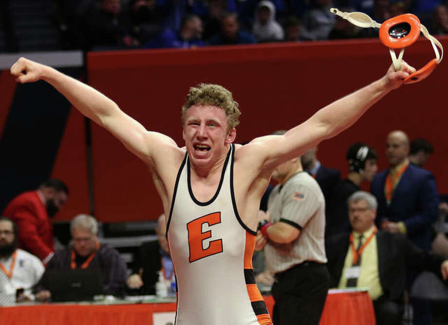 Edwardsville senior Luke Odom reacts after winning the state championship at 160 pounds Saturday night in the Class 3A wrestling state tournament at State Farm Center in Champaign. Odom, the Tigers' second state champ, is 50-1. Photo: Greg Shashack / The Telegraph