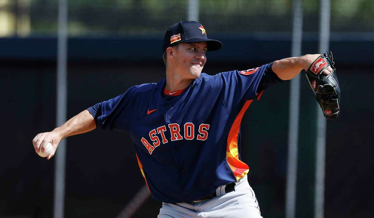 Houston Astros pitcher Zack Greinke (21) pitches a live batting practice during spring training workouts at the Fitteam Ballpark of The Palm Beaches, in West Palm Beach, Sunday, Feb. 23, 2020.