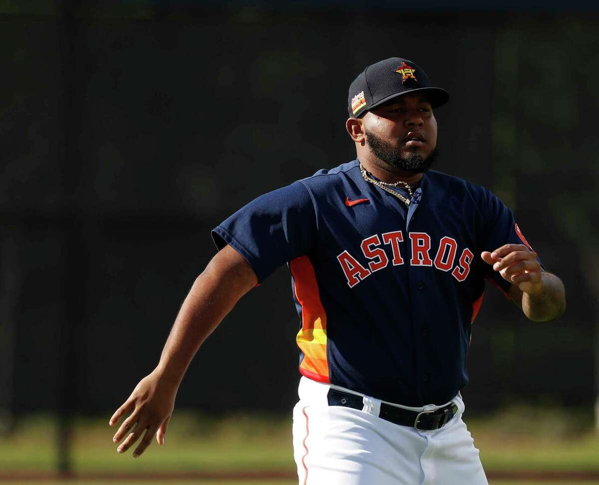 Houston Astros pitcher Rogelio Armenteros (61) before the start of the Astros-Nationals spring training game at the Fitteam Ballpark of The Palm Beaches, in West Palm Beach, Saturday, Feb. 22, 2020.