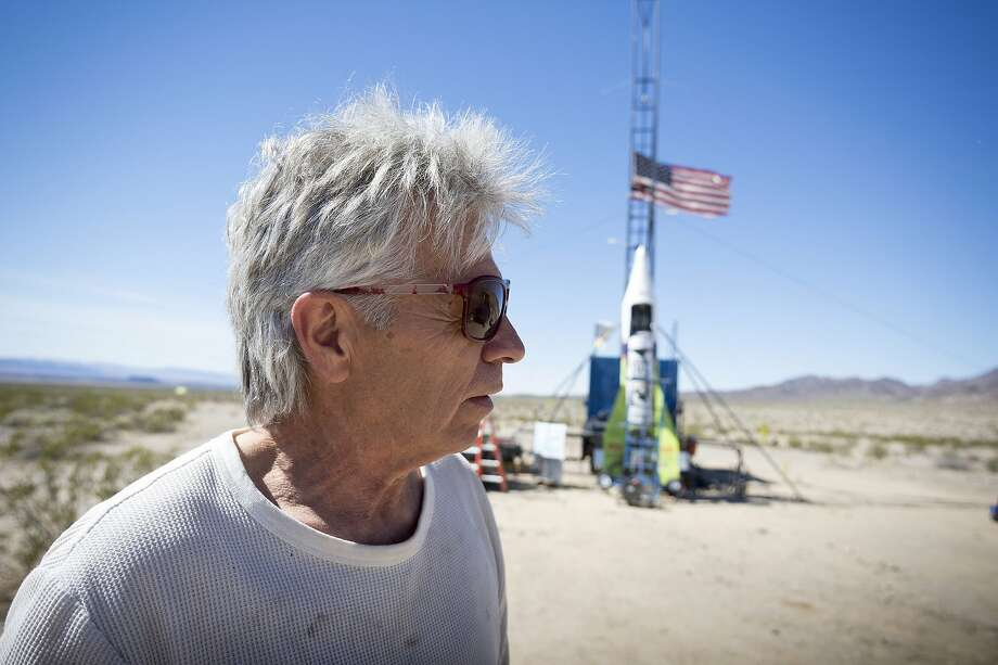 """Mad"" Mike Hughes, shown at 2018 launch near Amboy (San Bernardino County), died in a crash. Photo: James Quigg / Daily Press 2018"