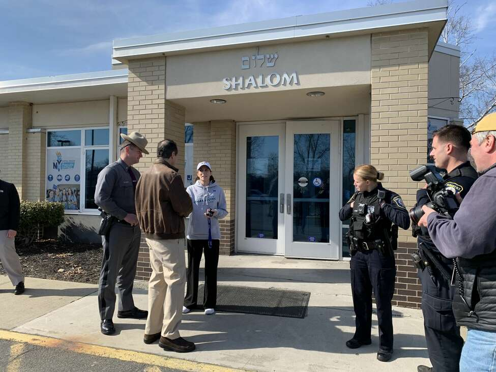 The Albany Jewish Community Center closed early on Sunday, Feb. 23, 2020 after it and roughly 18 other JCCs around the state received a vague threatening email that mentioned a bomb. Gov. Andrew Cuomo arrived to the scene at 340 Whitehall Rd. in Albany, N.Y. to debrief media.