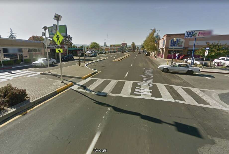 The intersection of Brooklyn Ave. and San Carlos in San Jose, where two people were struck by a car on Feb. 22, 2020. Photo: Google Street View