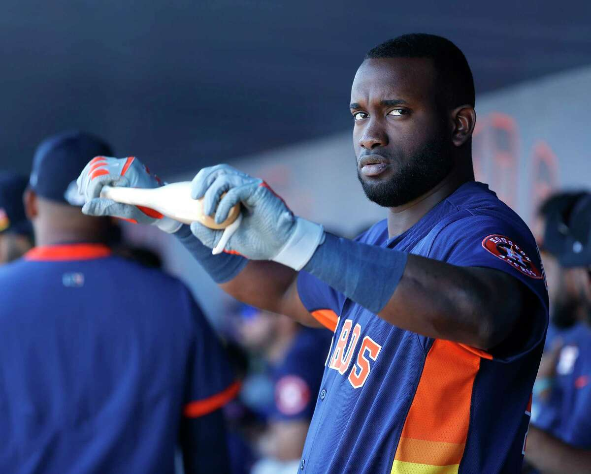 Houston Astros designated hitter Yordan Alvarez (44) in the dugout during a spring training game against the Washington Nationals at the Fitteam Ballpark of The Palm Beaches, in West Palm Beach, Sunday, Feb. 23, 2020.