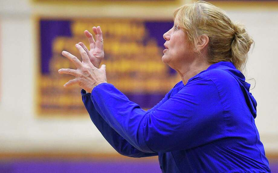 Danbury coach Jackie DiNardo reacts to the action on court. Danbury over powered Westhill for a 60-35 win on the road in an FCIAC girls basketball game in Stamford, Conn. on Jan. 16, 2020. Photo: Matthew Brown / Hearst Connecticut Media / Stamford Advocate