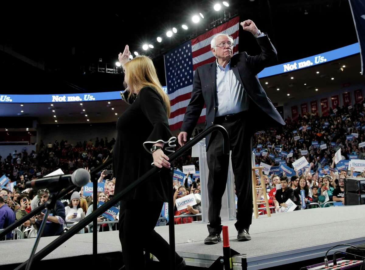 Democratic primary presidential candidate Bernie Sanders and his wife, Jane, at a rally at the Fertitta Center at the University of Houston on Sunday, Feb. 23, 2020.