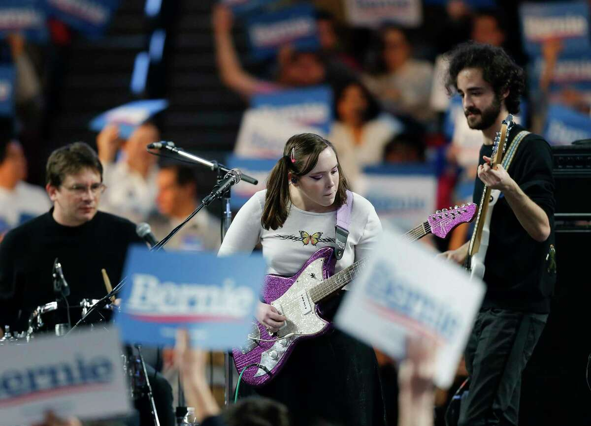 Soccer Mommy performs before a Bernie Sanders rally at the Fertitta Center at the University of Houston campus before the candidate speaks on Sunday, Feb. 23, 2020.