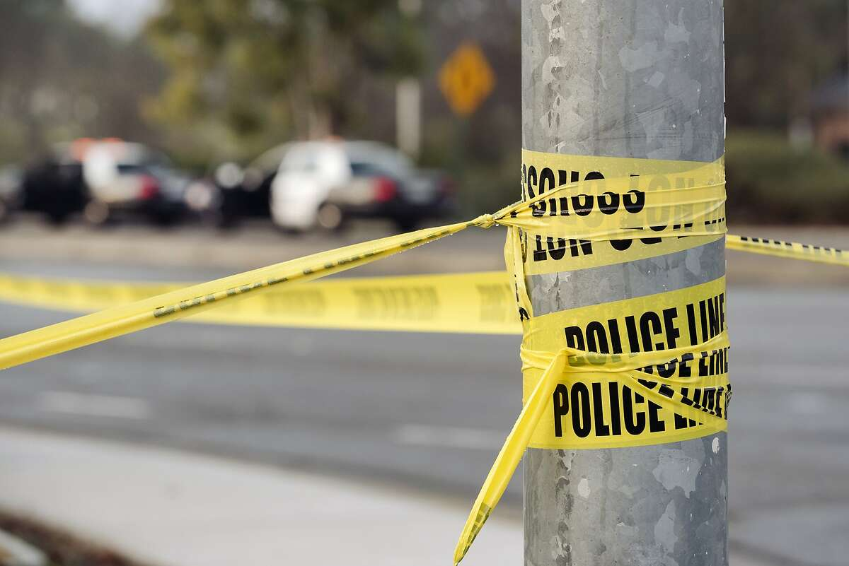 Caution tape is seen as Livermore police officers investigate the scene of an officer involved shooting on Airway Boulevard off of Interstate 580 in Livermore, California, Thursday, January 22nd, 2020.