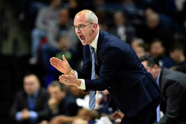 UConn head coach Dan Hurley yells to his team during the second half against South Florida in February. (AP Photo/Stephen Dunn)