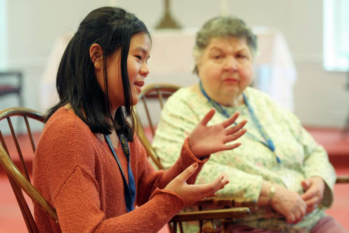 Volunteer Michelle Ferrone speaks during an interview at Nathaniel Witherell Home, in Greenwich, Conn. Feb. 11, 2020.