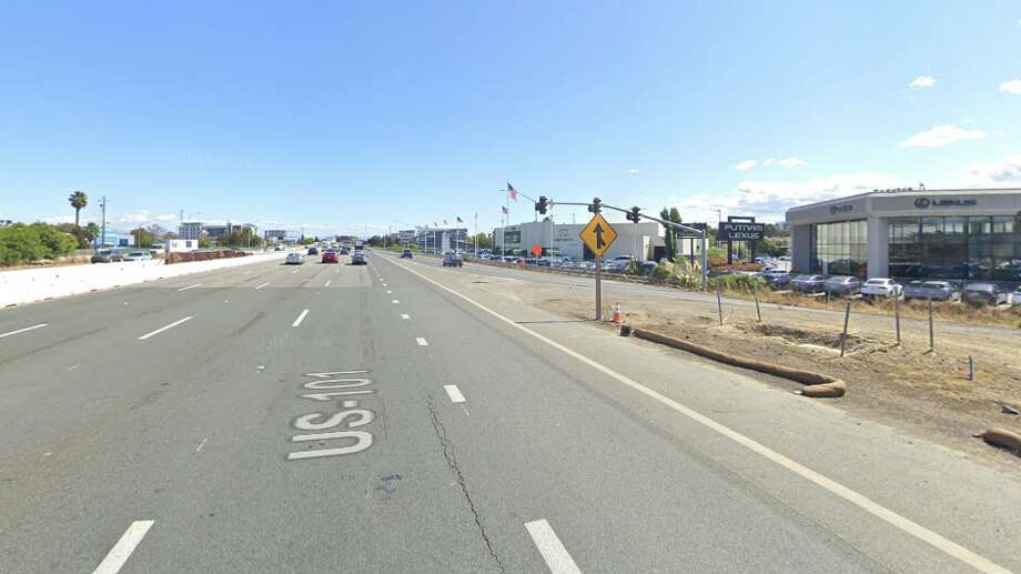 """FILE PHOTO -- At 3:18 a.m. Sunday, the CHP got the call of a solo vehicle, headed south on 101, having flown off the road """"at freeway speed"""" into a utility pole. Photo: Google Maps"""