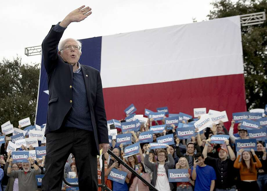 Democratic presidential candidate Sen. Bernie Sanders, I-Vt., waves to his supporters during a campaign event on Sunday, Feb. 23, 2020, in Austin, Texas. (Nick Wagner/Austin American-Statesman via AP) Photo: Nick Wagner, Associated Press
