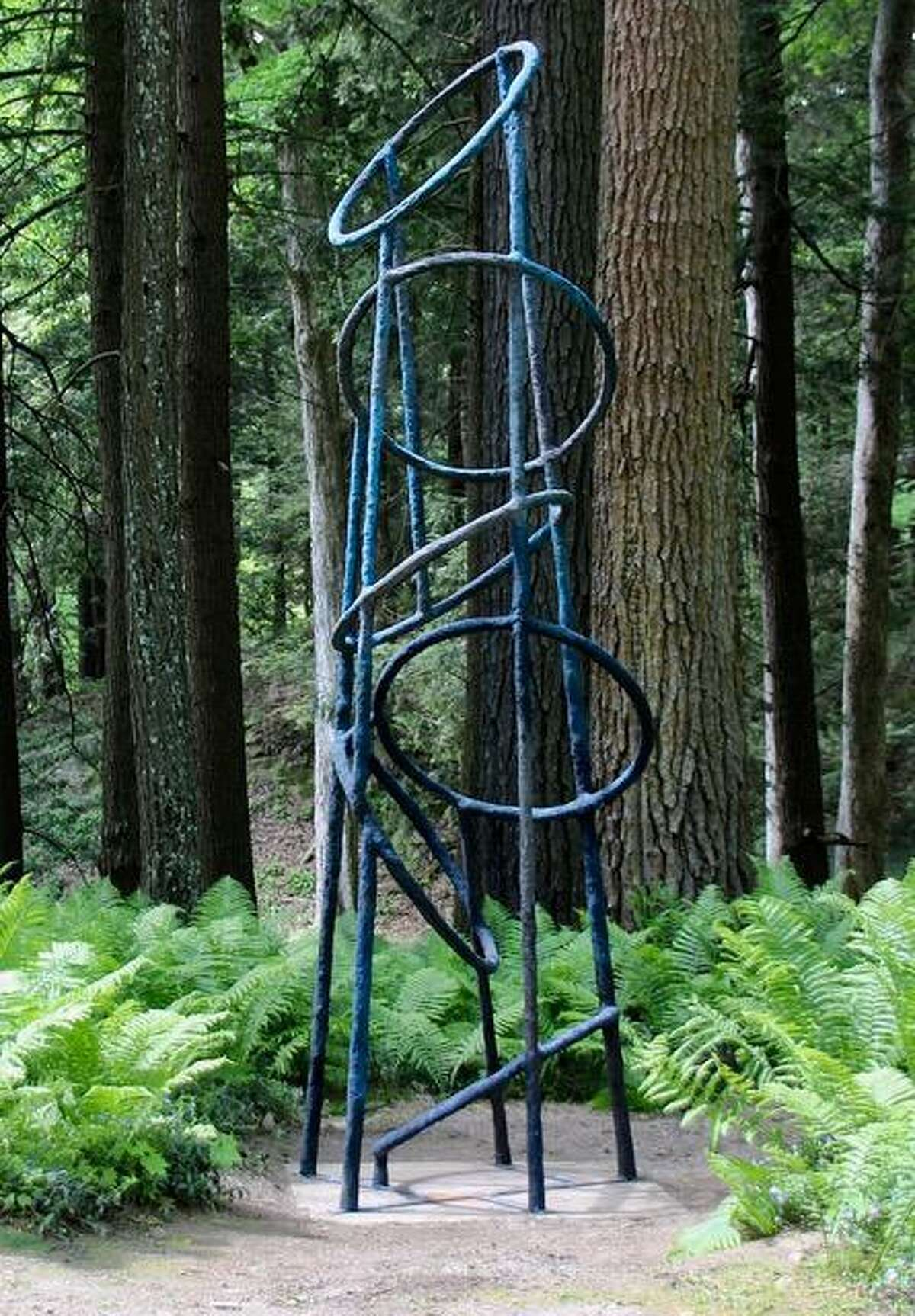 """Artist Joe Chirchirillo's piece """"Ring Tower"""" is on the New Canaan Land Trust's Sculpture Trail."""