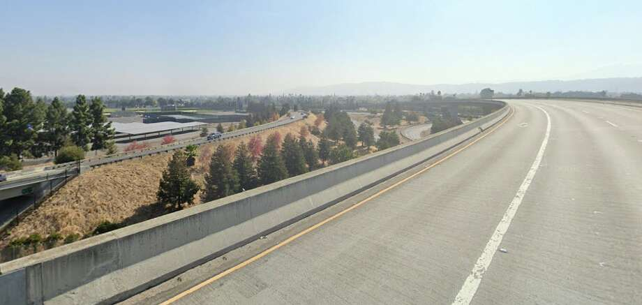 FILE PHOTO -- The CHP said that the motorcyclist was on the connector from southbound state Route 87 to southbound Route 85 when the cycle veered to the right and into a concrete wall. Photo: Google Maps