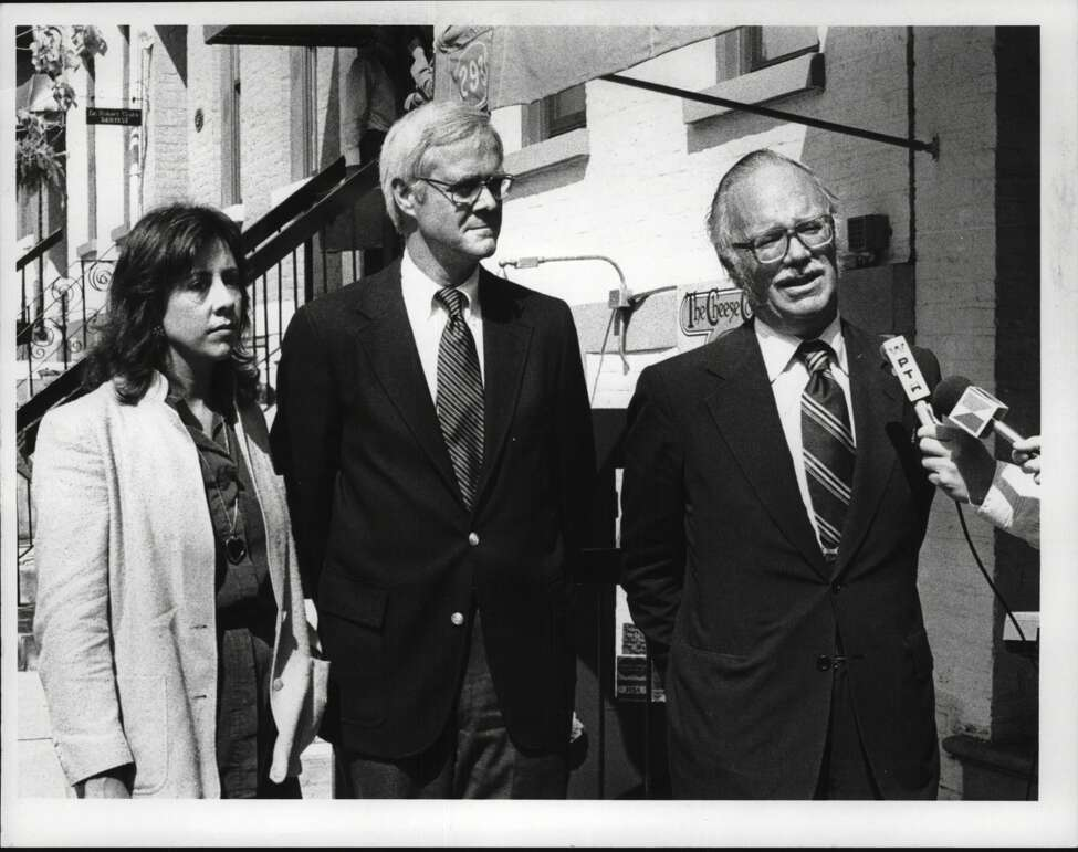 Robinson Square, Albany, New York - Louis Merritt, Matthew Bender IV & Livingston Biddle Jr at press conference. September 19, 1980 (Bud Hewig/Times Union Archive)