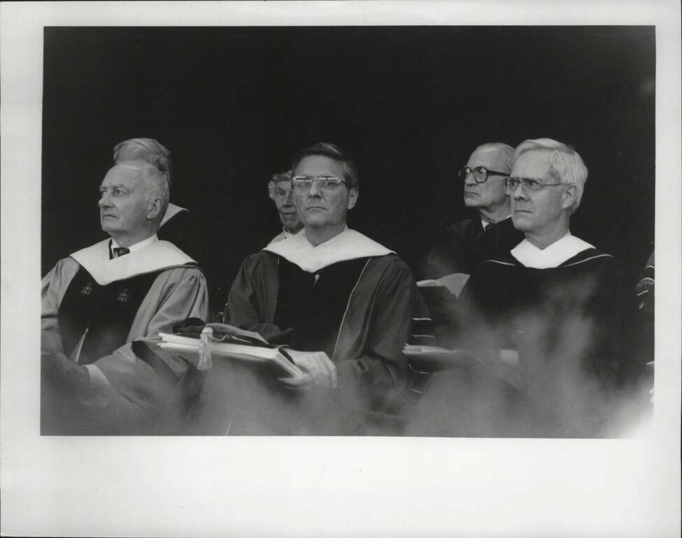 Albany Medical College graduation, Saratoga Performing Arts Center, New York - Richard J. Bartlett, G. Timothy Johnson, MD, and Matthew Bender IV, all recipients of honorary degree. May 21, 1986 (Jack Madigan/Times Union Archive)