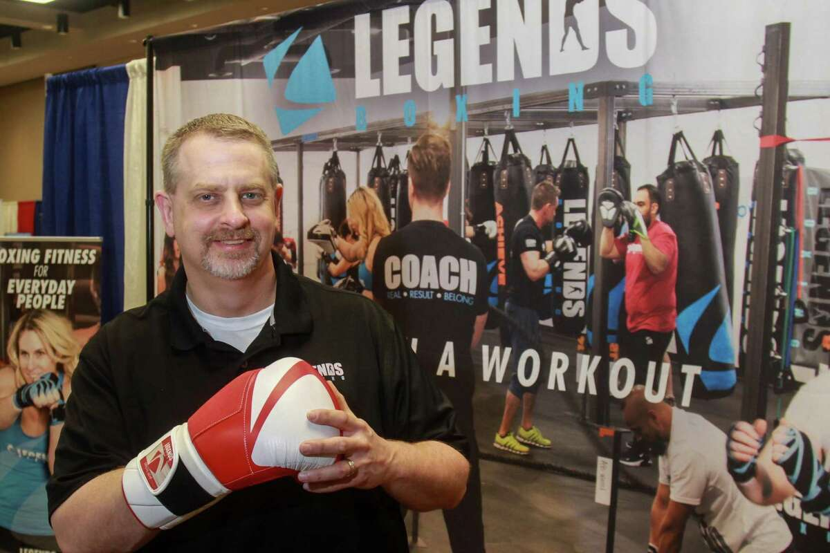 Mike Samson, the franchise brand director for Legends Boxing, at the Great American Franchise Expo in Stafford on February 23, 2020.