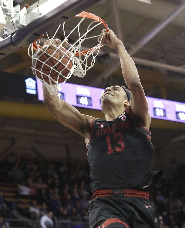 Stanford's Oscar da Silva dunks against Washington late in the second half of an NCAA college basketball game Thursday, Feb. 20, 2020, in Seattle. Stanford won 72-64. (AP Photo/Elaine Thompson) Photo: Elaine Thompson / Associated Press