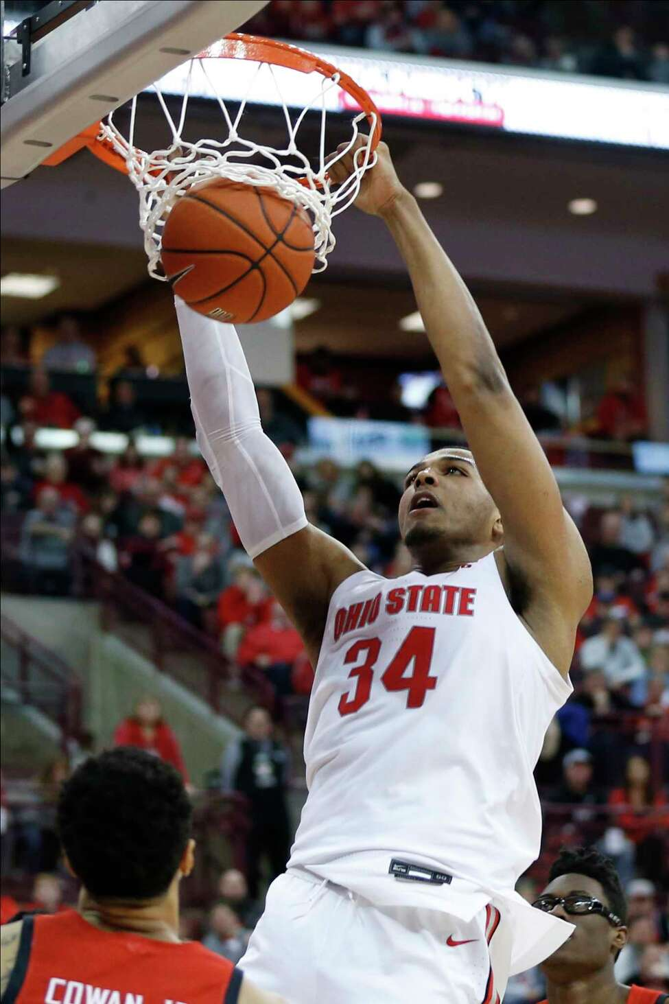 Ohio State's Kaleb Wesson dunks the ball against Maryland during the second half of an NCAA college basketball game Sunday, Feb. 23, 2020, in Columbus, Ohio. Ohio State defeated Maryland 79-72. (AP Photo/Jay LaPrete)