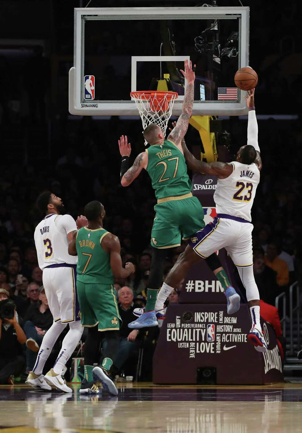 LOS ANGELES, CALIFORNIA - FEBRUARY 23: LeBron James #23 of the Los Angeles Lakers goes to the basket during the third quarter against Daniel Theis #27 of the Boston Celtics at Staples Center on February 23, 2020 in Los Angeles, California. (Photo by Katelyn Mulcahy/Getty Images)