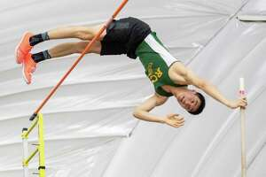 Ravena Coeymans Selkirk pole vaulter Shane Racey competes at the Section II state qualifier at UAlbany on Sunday, Feb. 23, 2020 (Jim Franco/Special to the Times Union.)